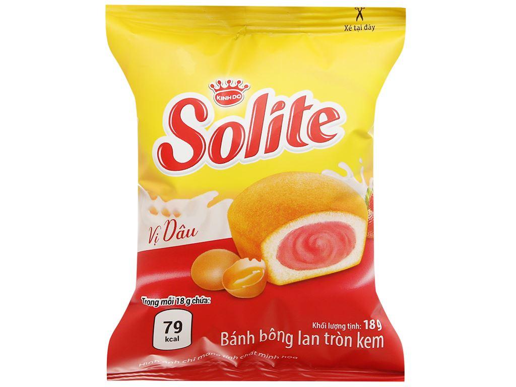 Bánh bông lan tròn kem vị dâu Solite hộp 36g (2 cái) 7