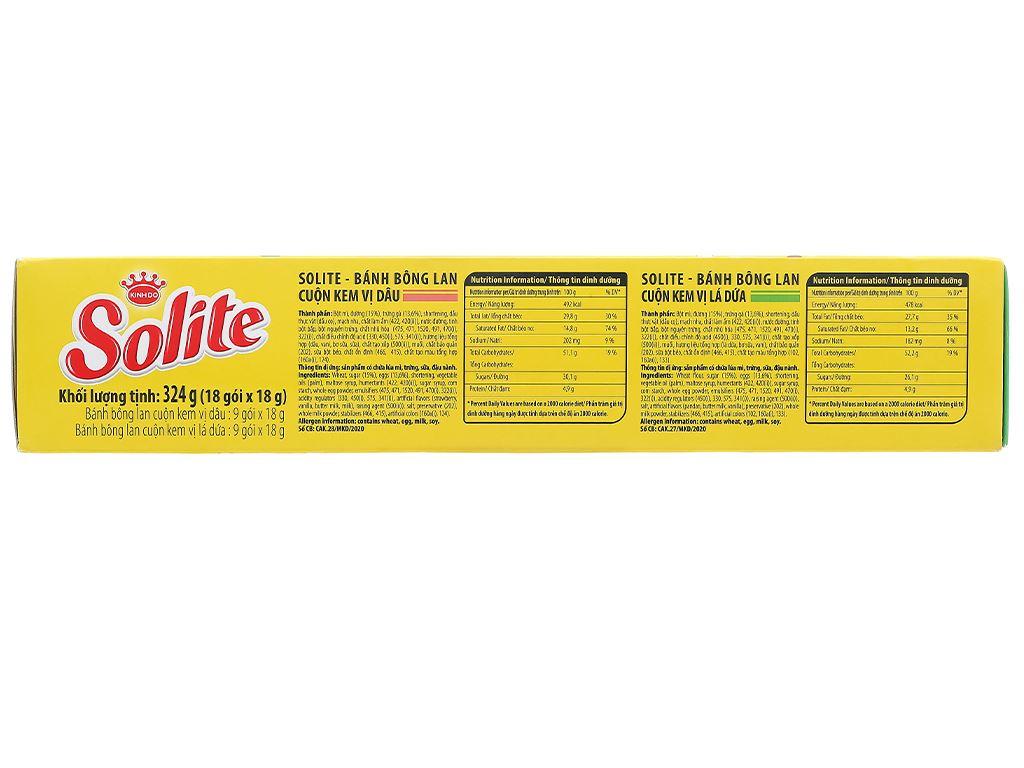 Bánh bông lan cuộn kem vị dâu và vị lá dứa Solite hộp 324g (18 cái) 2