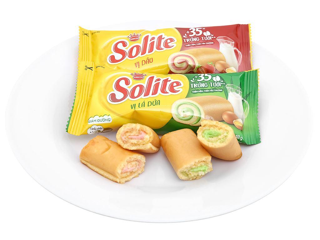 Bánh bông lan cuộn kem vị dâu và vị lá dứa Solite hộp 324g (18 cái) 6