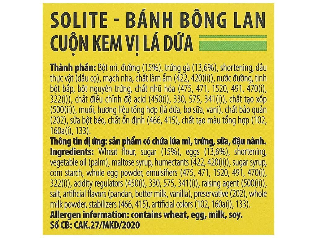 Bánh bông lan cuộn kem vị dâu và vị lá dứa Solite hộp 324g (18 cái) 7