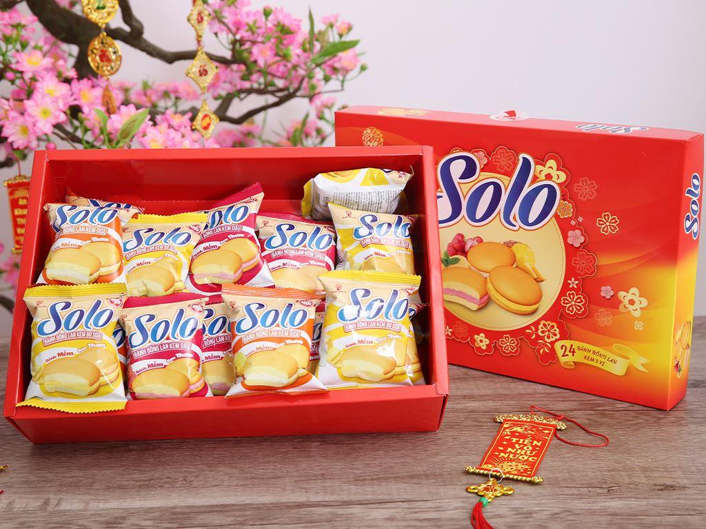 Bánh bông lan kem hỗn hợp 3 mùi Solo hộp 336g 3