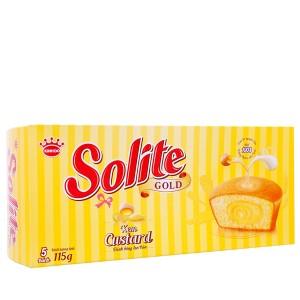 Bánh bông lan tròn kem custard Solite Gold hộp 115g (5 cái)