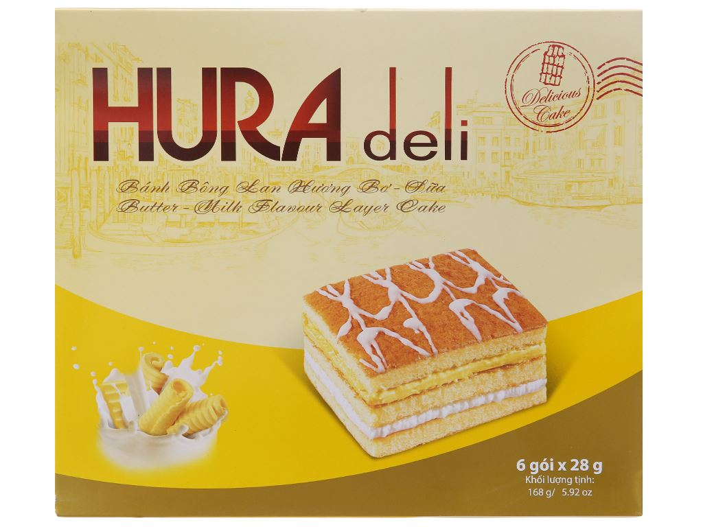 Bánh bông lan hương bơ sữa Hura Deli hộp 168g (6 cái) 2