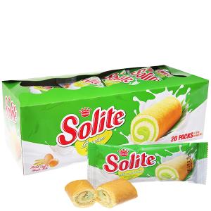 Bánh bông lan cuộn kem vị lá dứa Solite hộp 360g (20 cái)
