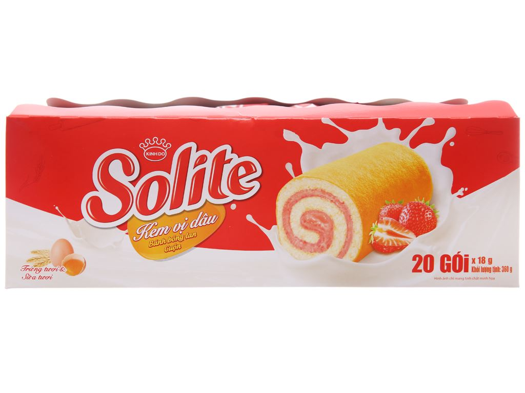 Bánh bông lan cuộn kem vị dâu Solite hộp 360g (20 cái) 2