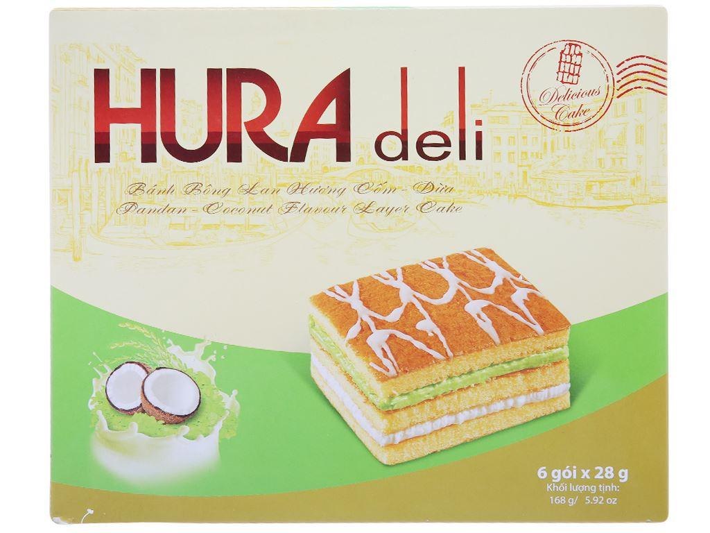 Hộp 6 bánh bông lan hương cốm dừa Hura Deli 28g 1