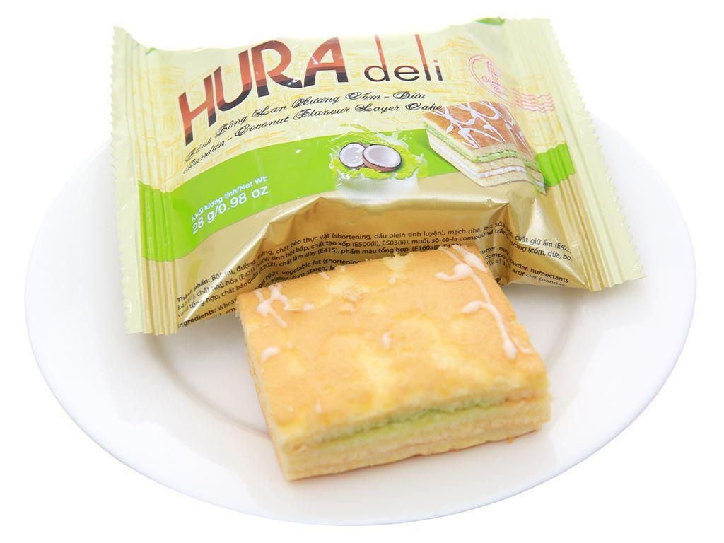 Bánh bông lan hương cốm dừa Hura hộp 168g (6 cái) 4
