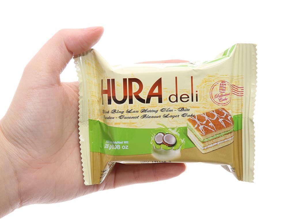 Hộp 12 bánh bông lan hương cốm dừa Hura Deli 28g 4