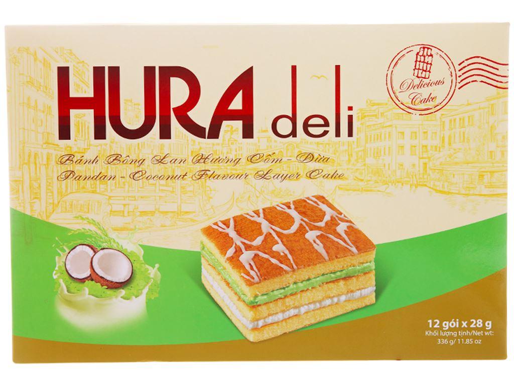 Hộp 12 bánh bông lan hương cốm dừa Hura Deli 28g 1