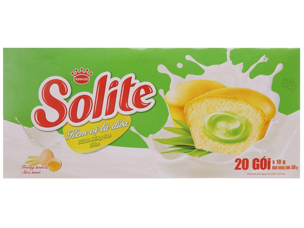 Hộp 20 bánh bông lan kem vị lá dứa Solite 18g 2