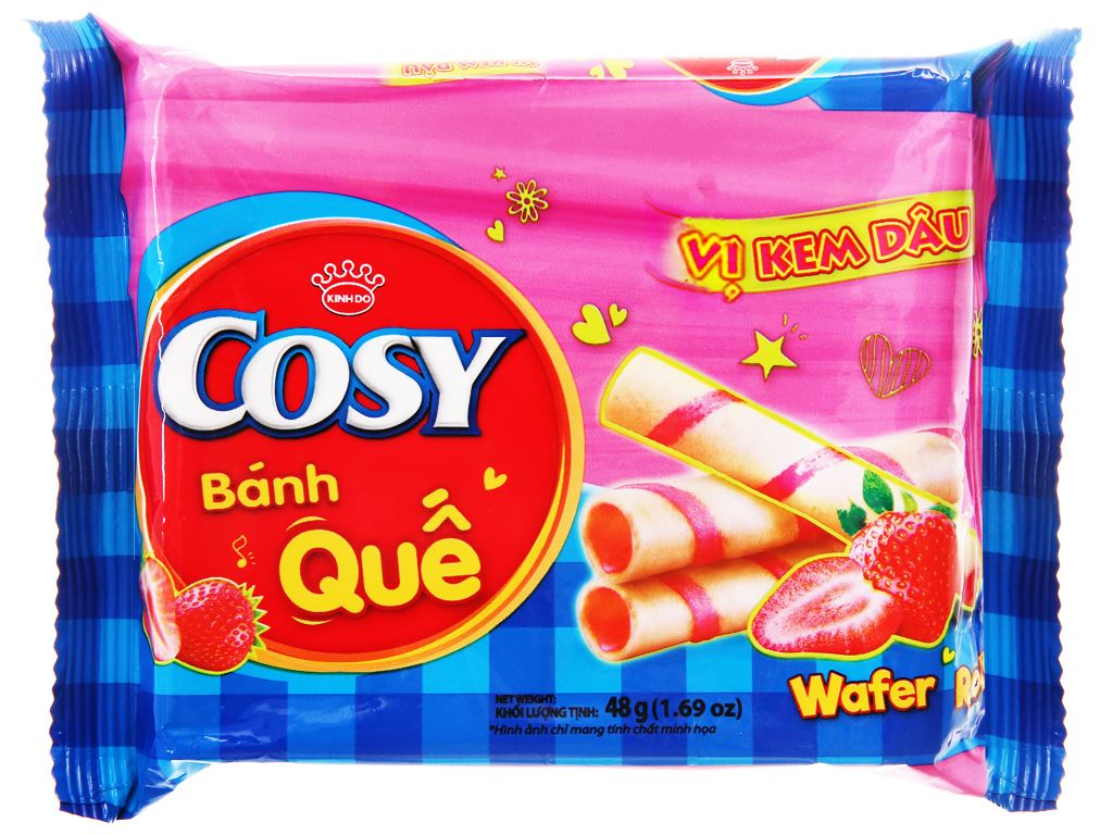 Bánh quế vị kem dâu Cosy gói 48g 1