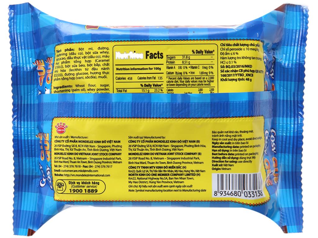 Bánh quế Cosy vị kem socola 48g 2