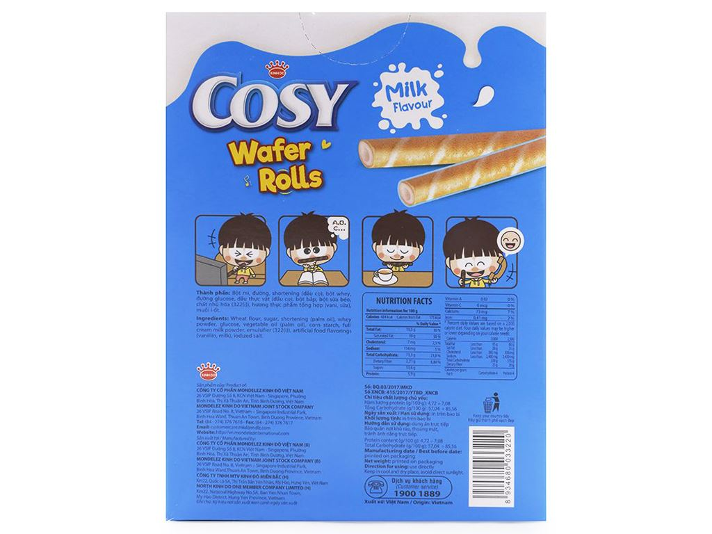 Bánh quế vị sữa Cosy hộp 54g 2