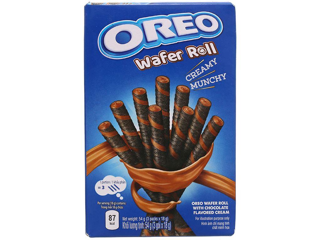 Hộp 3 gói bánh quế sô cô la Wafer Roll Oreo 18g 7