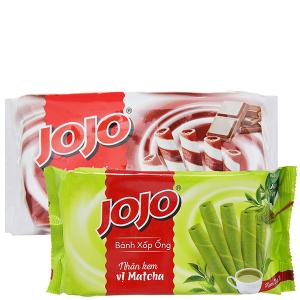 Combo Bánh xốp ống Jojo socola và Bánh xốp ống Jojo matcha 125g