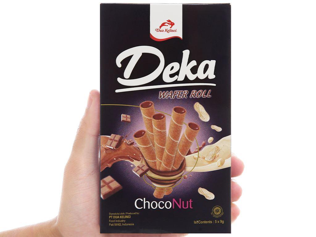 Bánh quế nhân socola đậu phộng Deka Wafer Roll hộp 45g 6