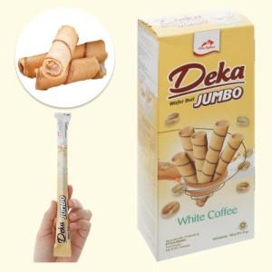 Bánh quế nhân kem cà phê trắng Deka Wafer Roll hộp 160g