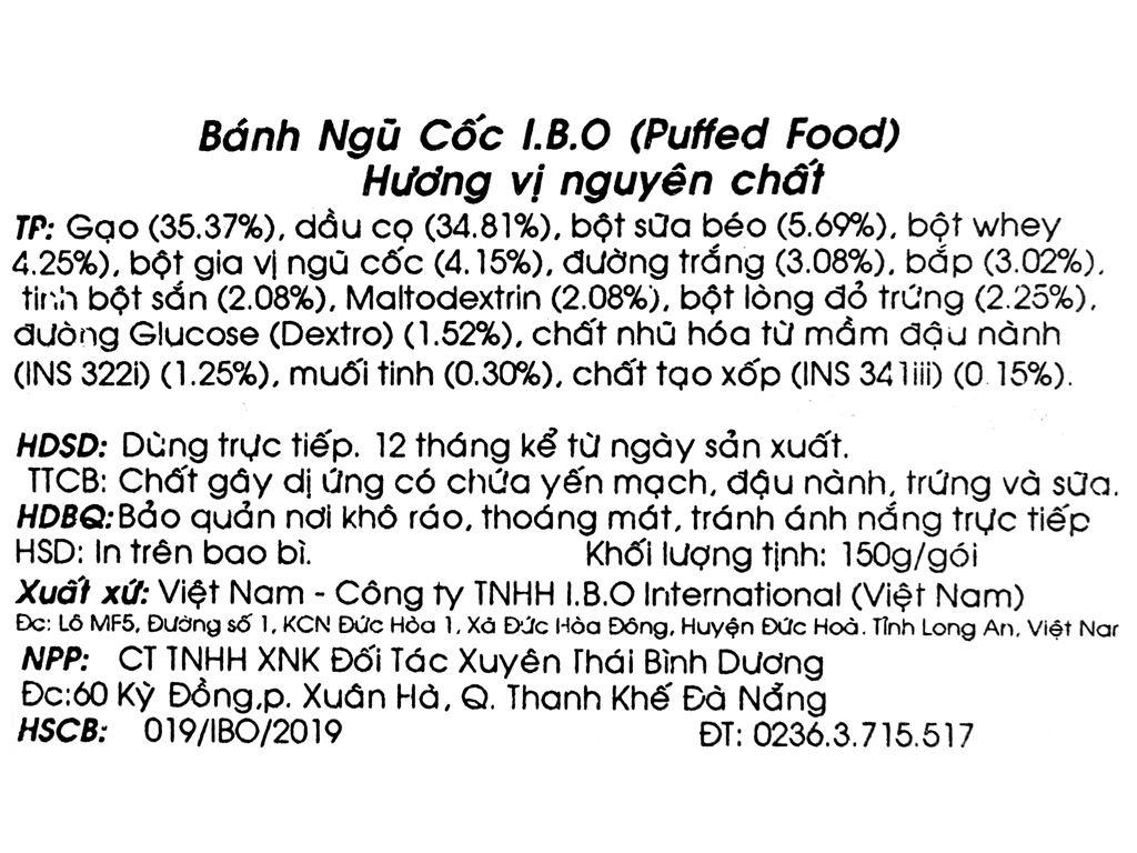 Bánh ngũ cốc vị nguyên chất I.B.O gói 150g 3