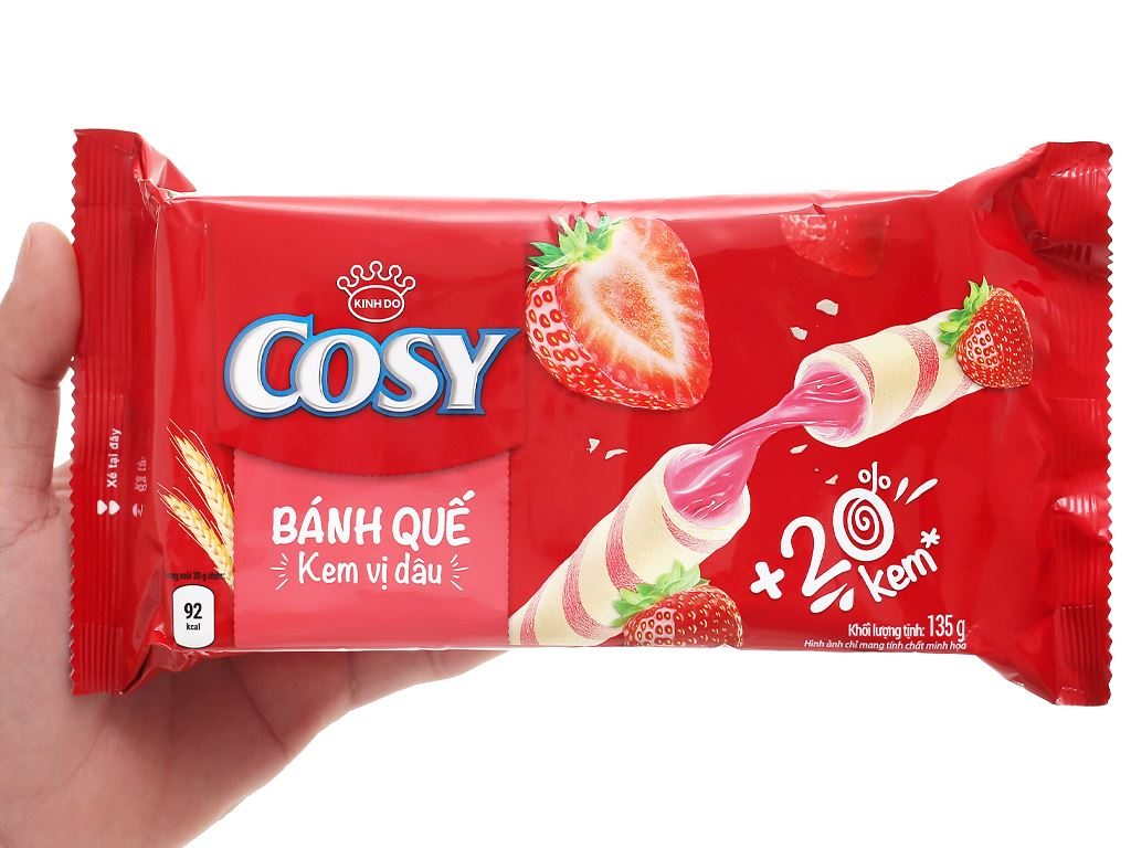 Bánh quế vị kem dâu Cosy gói 132g 15