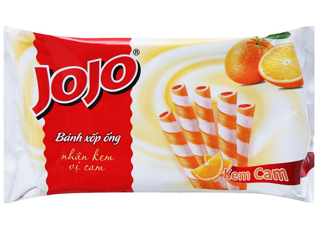 Bánh xốp ống vị kem cam Jojo gói 125g 1