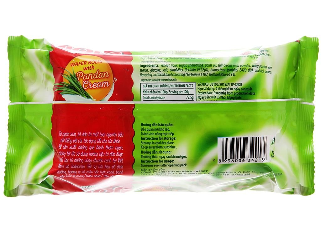 Bánh xốp ống nhân kem vị lá dứa Jojo gói 125g 2