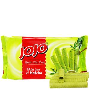 Bánh xốp ống nhân kem vị matcha Jojo gói 125g
