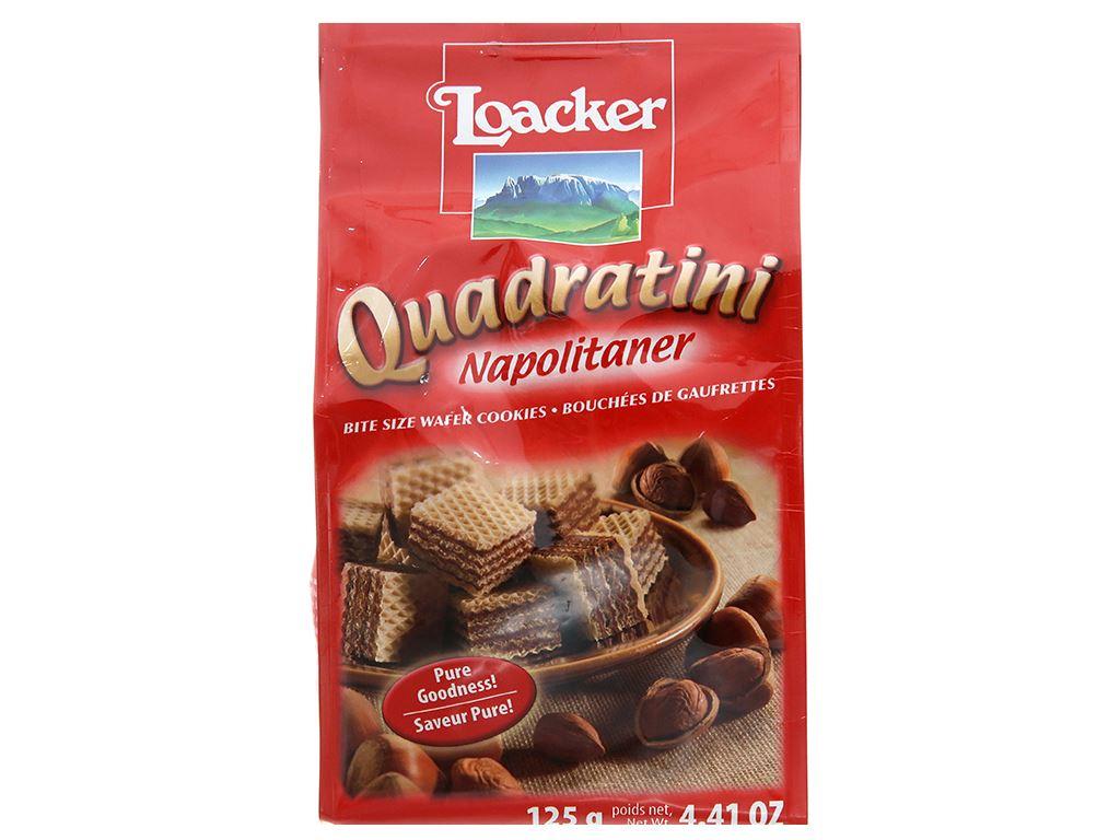 Bánh xốp nhân kem hạt dẻ Loacker Quadratini gói 125g 1