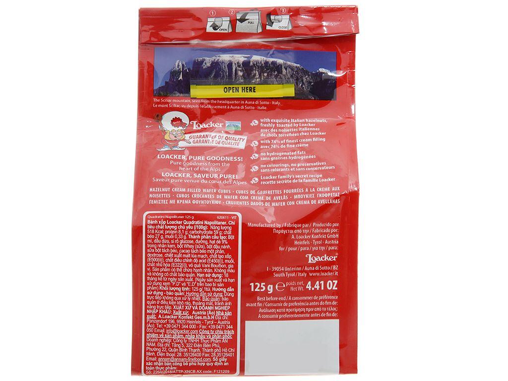 Bánh xốp nhân kem hạt dẻ Loacker Quadratini gói 125g 2