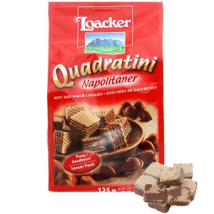 Bánh xốp nhân kem hạt dẻ Loacker Quadratini gói 125g