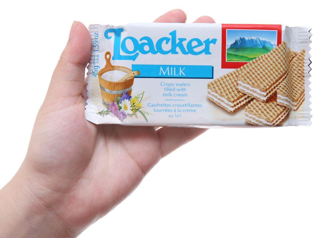 Bánh xốp nhân kem sữa Loacker Classic gói 45g 5