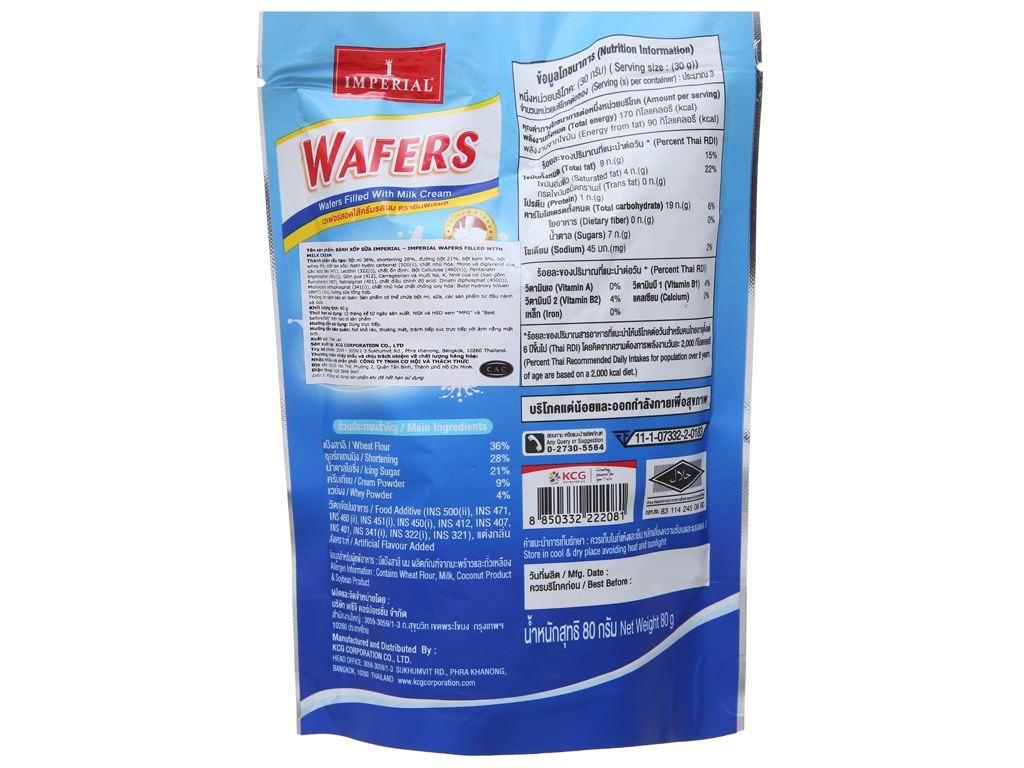 Bánh xốp nhân kem sữa Imperial Wafers gói 80g 2