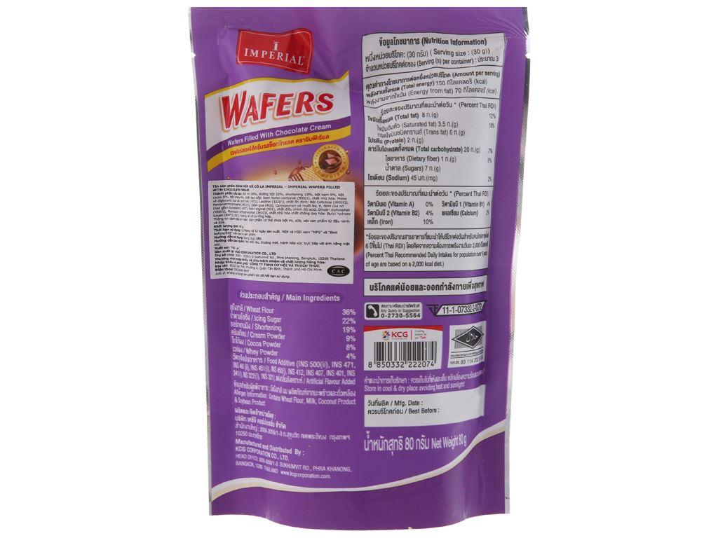 Bánh xốp nhân kem socola Imperial Wafers túi 80g 2