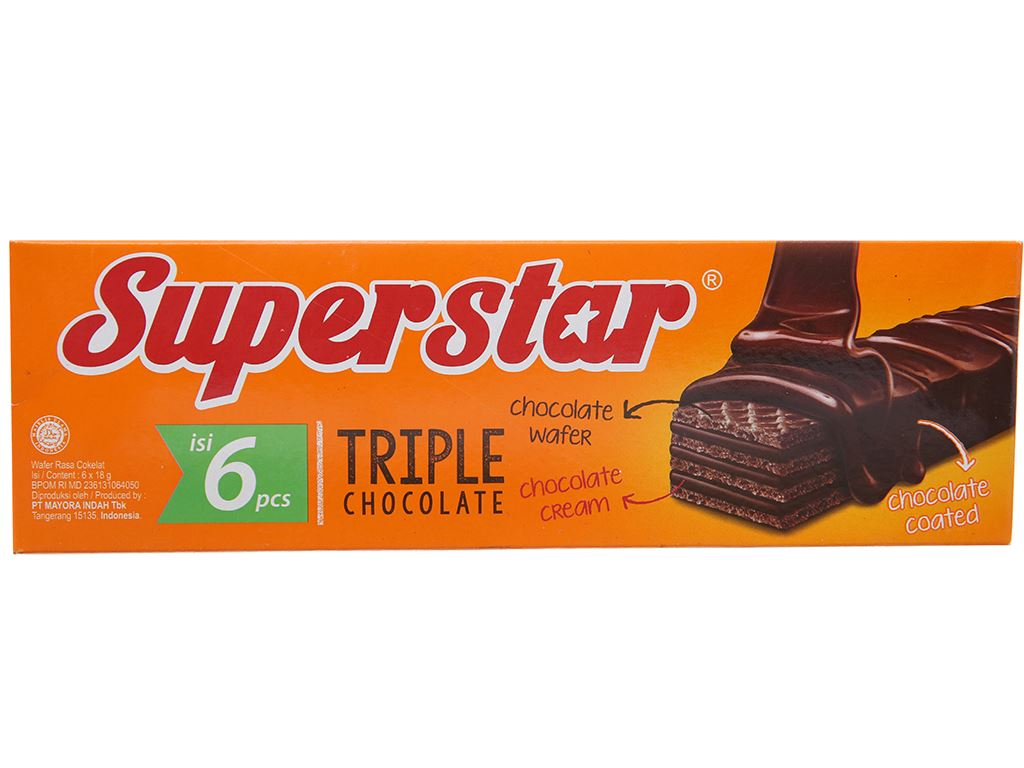 Bánh xốp phủ kem socola Superstar hộp 108g 1