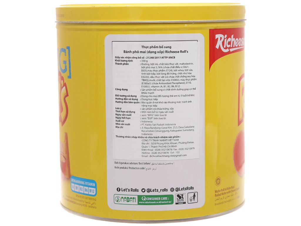 Bánh phô mai xốp - Richeese Roll's hộp 330g 6