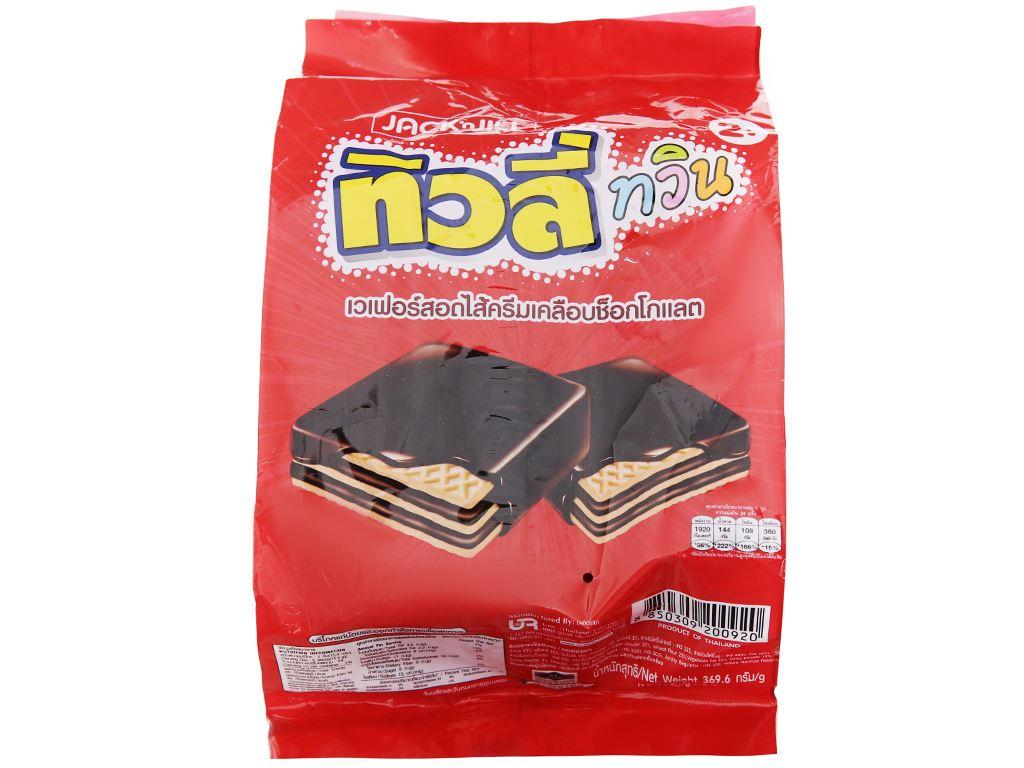Bánh xốp phủ socola nhân socola Jack n Jill túi 369.6g 1