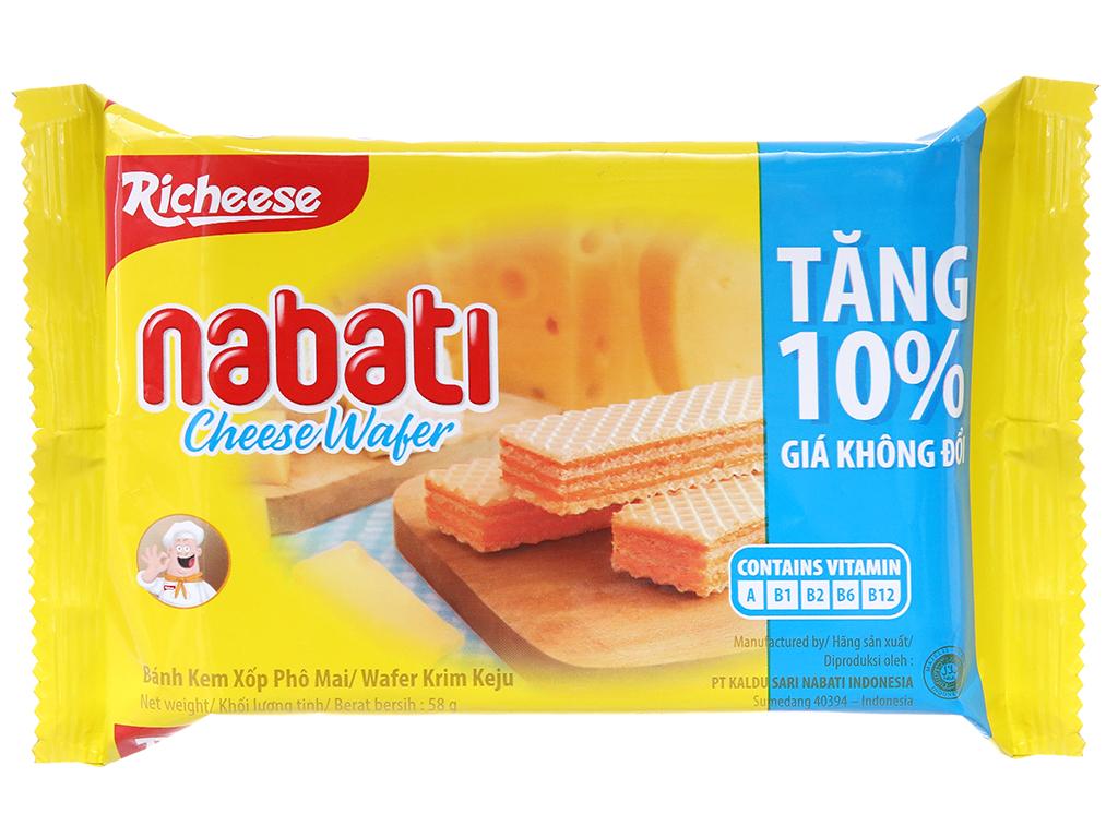 Bánh xốp nhân phô mai Nabati gói 58g 2
