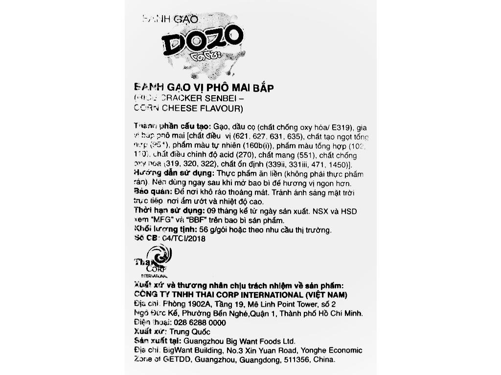 Bánh gạo vị phô mai ngô Dozo gói 56g 6