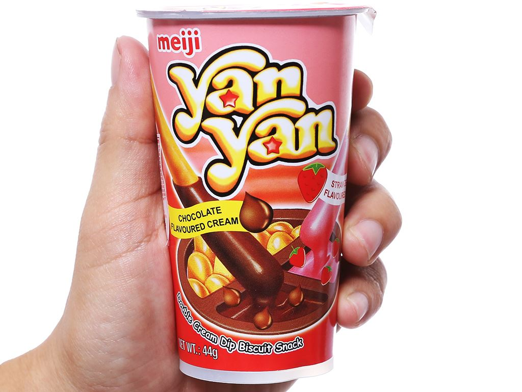 Bánh que Meiji Yan Yan chấm kem hương dâu và sô cô la ly 44g 4