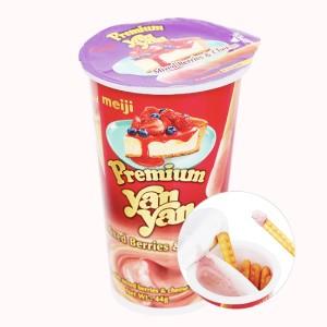 Bánh que Meiji Yan Yan Premium yến mạch cao cấp dâu và phô mai ly 44g