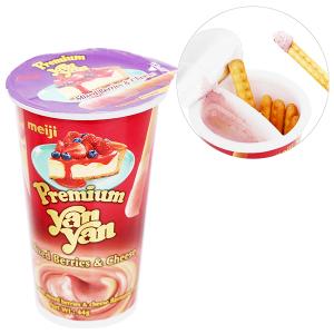 Bánh que Meiji Yan Yan yến mạch cao cấp dâu và phô mai ly 44g