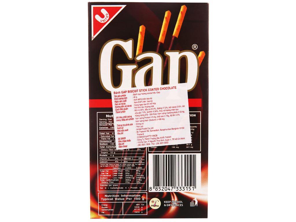 Bánh que Gap phủ kem hương socola hộp 40g 6