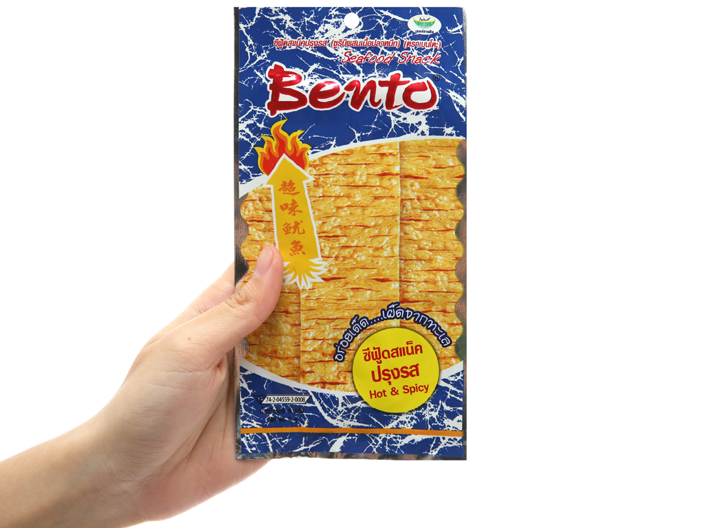 Snack hải sản tẩm gia vị đặc biệt Bento Hot & Spicy gói 24g 3