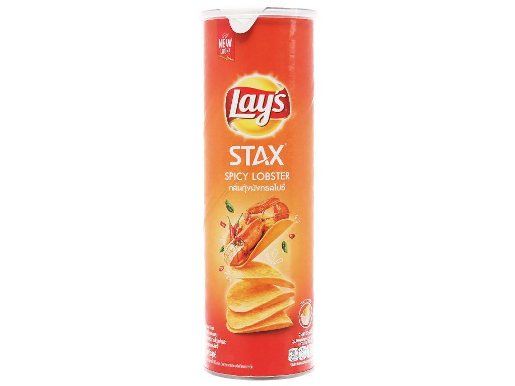 Snack khoai tây vị tôm hùm cay Lay's Stax lon 105g 1