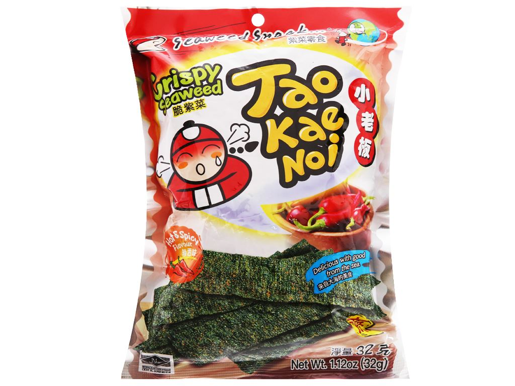 Snack rong biển giòn vị cay Tao Kae Noi gói 32g 5