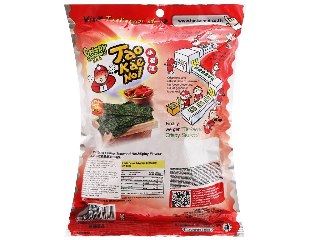 Snack rong biển giòn vị cay Tao Kae Noi gói 32g 6