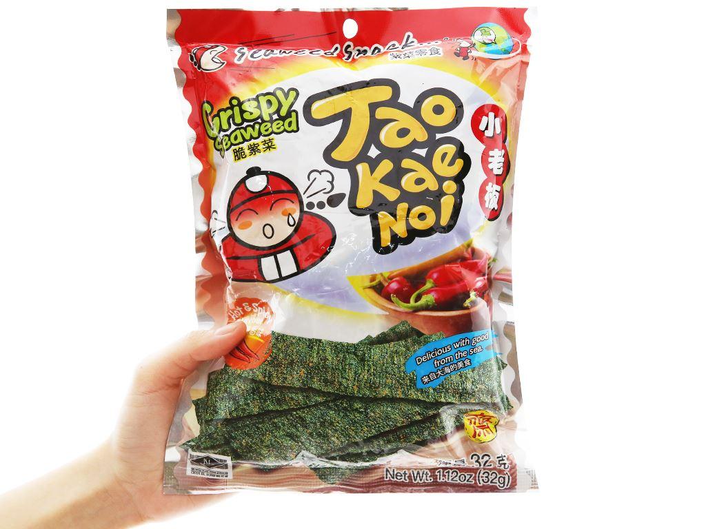 Snack rong biển giòn vị cay Tao Kae Noi gói 32g 7