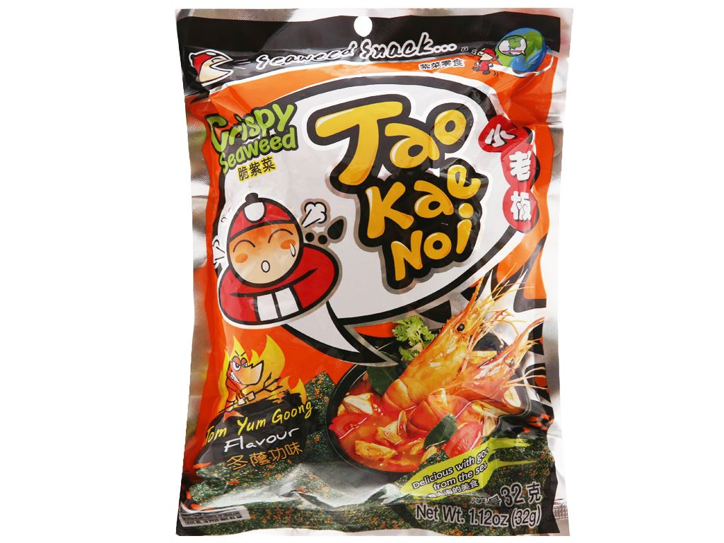 Snack rong biển giòn vị chua cay Tao Kae Noi gói 32g 5
