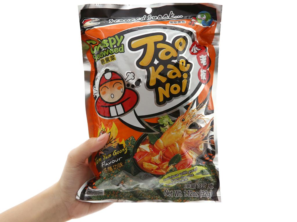 Snack rong biển giòn vị chua cay Tao Kae Noi gói 32g 3
