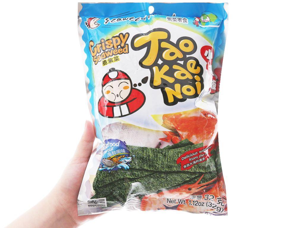 Snack rong biển giòn vị hải sản Tao Kae Noi gói 32g 3