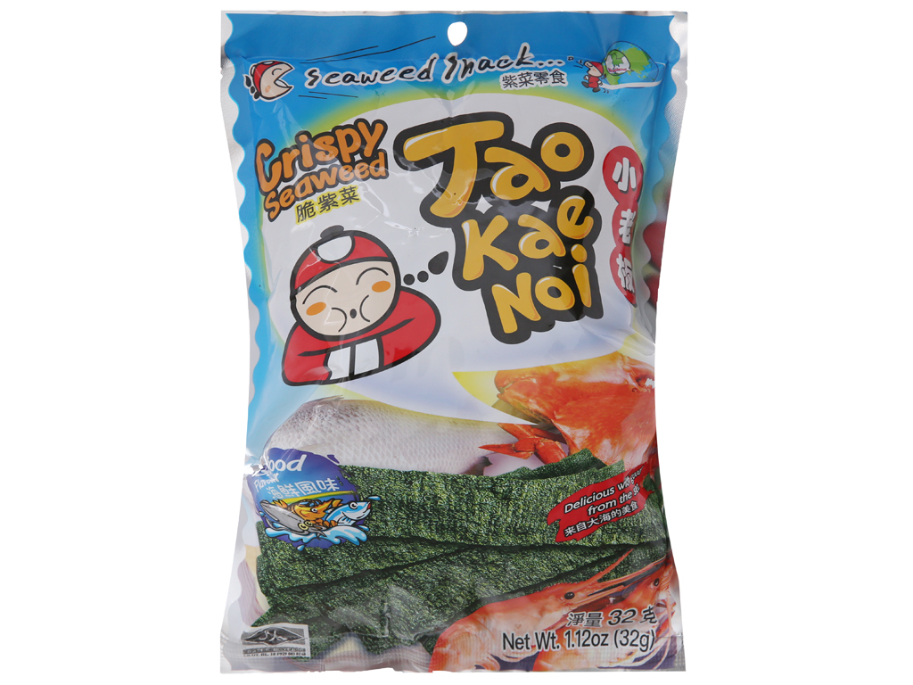 Snack rong biển giòn vị hải sản Tao Kae Noi gói 32g 1